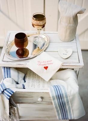 wedding ceremony arch chuppah kiddush cups tallit to dry your happy tears handkerchief ring tray