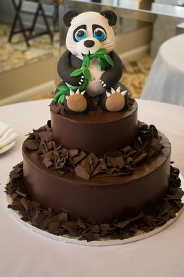 chocolate groom's cake with fondant panda