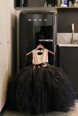 Black tulle skirt ball gown flower girl dress gold sequin bodice on hanger smeg refrigerator fridge