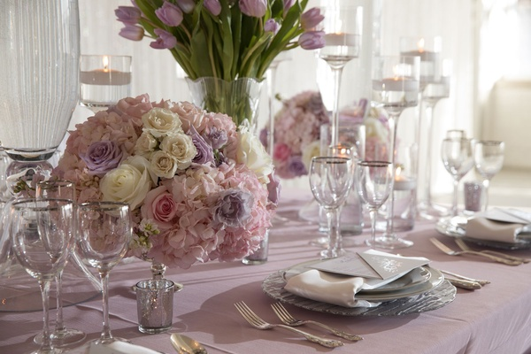 Wedding styled shoot lavender linen white purple pink rose centerpiece silver glassware