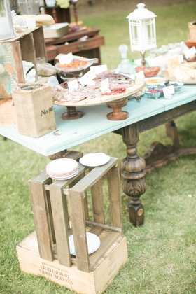 Shabby chic rustic meat and cheese area at wedding