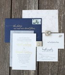 wedding invitation suite navy blue gold flower print stamp gold foil calligraphy