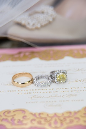 yellow diamond halo engagement ring, eternity band, yellow gold men's wedding band