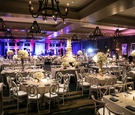 rustic decor with white and grey color palette paired with purple and blue uplighting