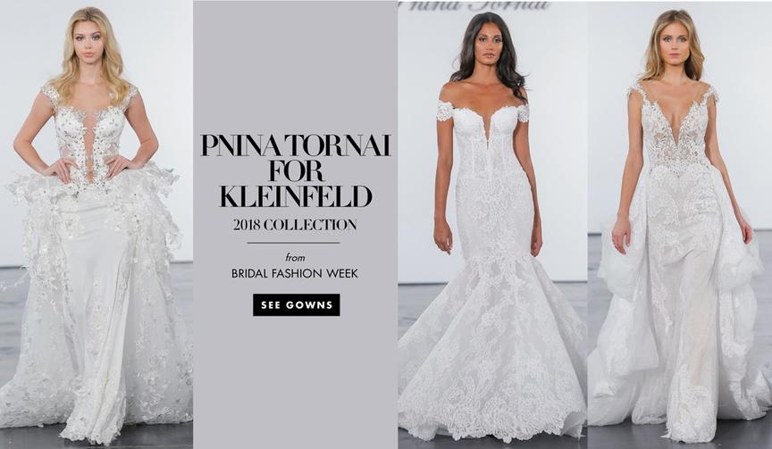 Pnina Tornai for Kleinfeld 2018 wedding dresses bridal gowns off shoulder crystal ruffle