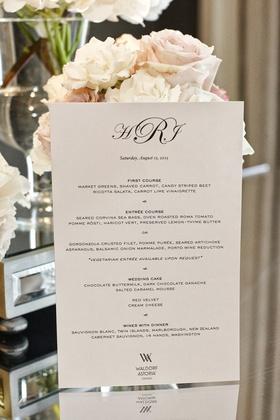 wedding dinner menu for waldorf astoria chicago wedding with monogram
