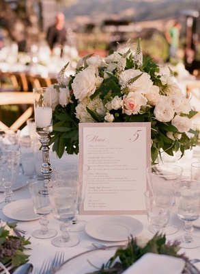 Neutral-toned combination menu and table card