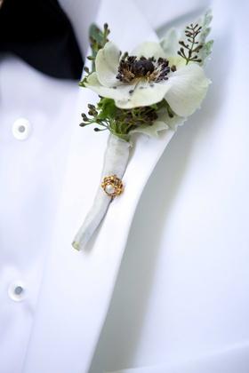 grooms boutonniere white greenery flower foliage gem pin white jacket