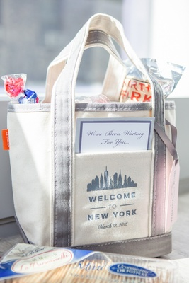 welcome bag new york city theme song lyrics wedding candy food cheese licorice oreos fizzy soda