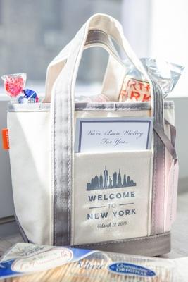 welcome bag new york city theme song lyrics wedding candy food cheese licorice oreos fizzy soda