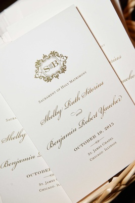 Chicago wedding ceremony program with gold monogram and gold calligraphy Catholic traditions