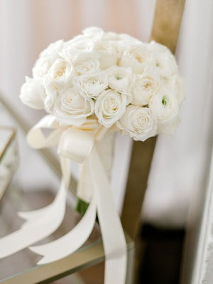 simple bridal bouquet ivory roses, cream roses bridal bouquet, classic bridal bouquet