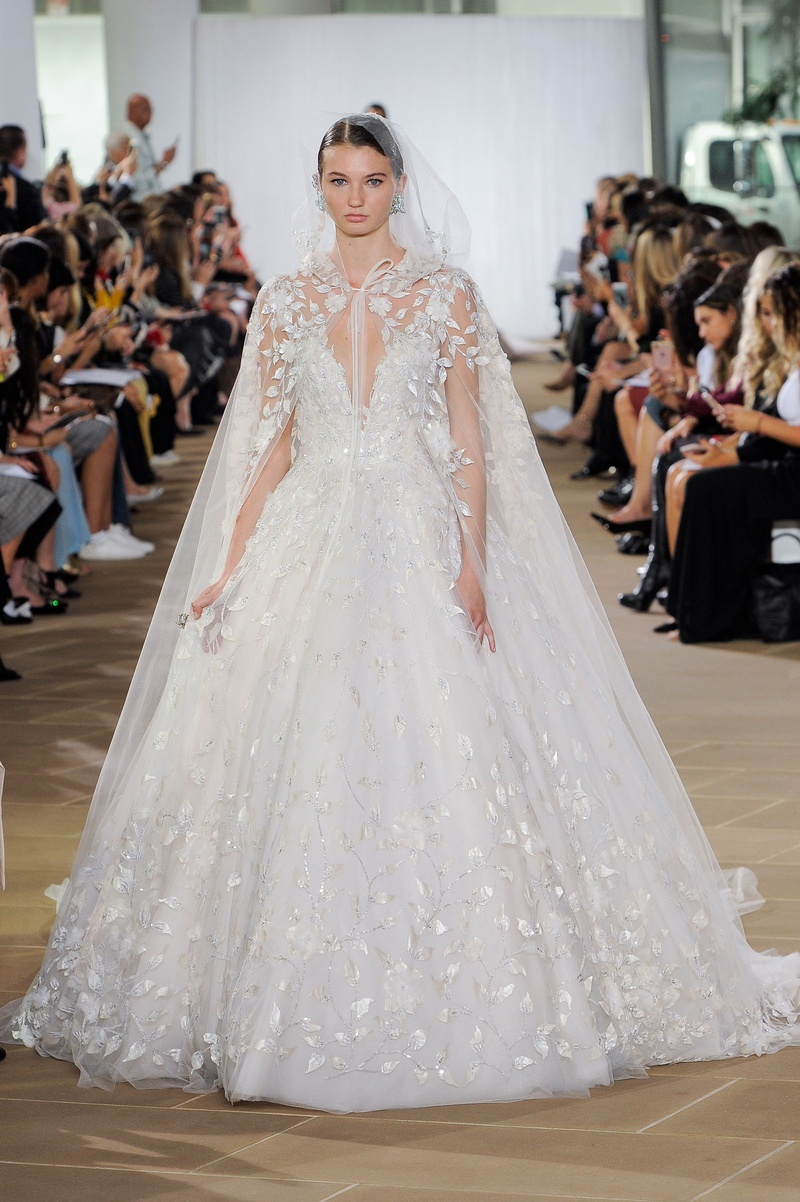 Ines Di Santo fall 2019 bridal collection wedding dress Lilia embellished ball gown with cape
