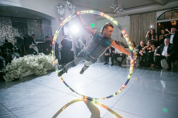wedding reception after party entertainment led wheel spin performer acrobatics