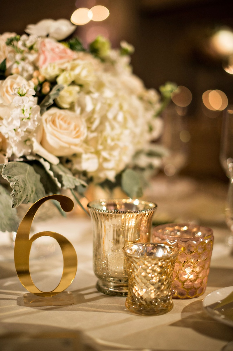 Invitations & More Photos - Shiny Gold Table Number - Inside Weddings