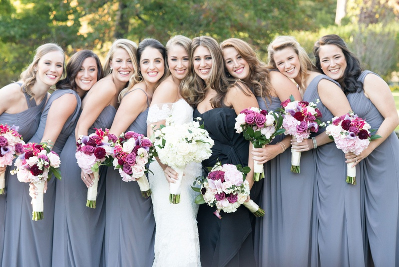 Watters bridesmaid dresses bride in off shoulder anne barge wedding dress maid of honor in different