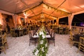 vizcaya museum and gardens wedding, tented reception, table runner greenery and orchids, garland