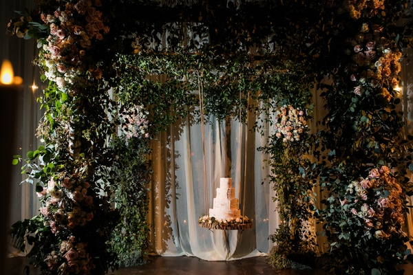 wedding cake styled after Aspen trees suspended from chuppah