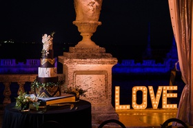"marquee lights spelling ""love"" museum wedding ideas"