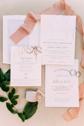Minted wedding invitation with rose gold details foil elements pink ribbon mrs box