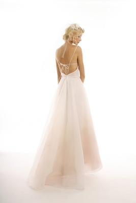 Ombre pink wedding dress with strappy back by Eugenia