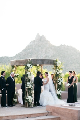 Adrianna Costa and Scott Gorelick at outdoor desert wedding