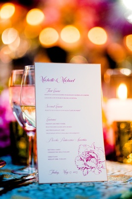 Italian menu on white paper with pink peony