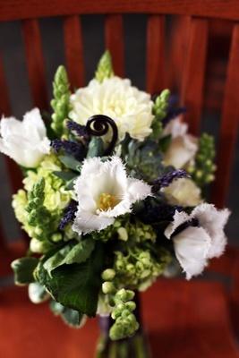 Succulent, dahlia, snapdragon flower bouquet
