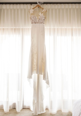 pronovias wedding dress crepe skirt with embroidery and illusion bodice bella bianca bridal couture