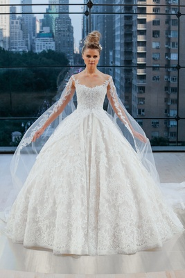 Sleeveless illusion sweetheart classic ball gown with cathedral  length train and detachable sleeve