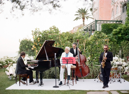 Pianist singer saxophonist bassist wedding entertainment outdoor wedding italian frank sinatra