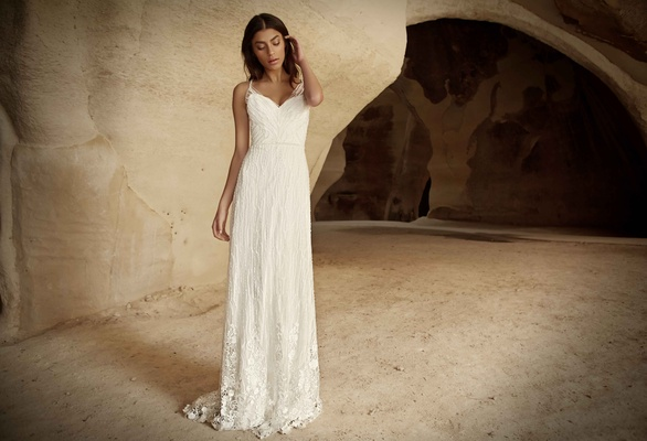 Limor Rosen 2017 Luena wedding dress lace beaded illusion tulle straps hem lace applique Tribal