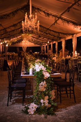 vizcaya museum and gardens wedding, tented reception, table runner greenery and orchids