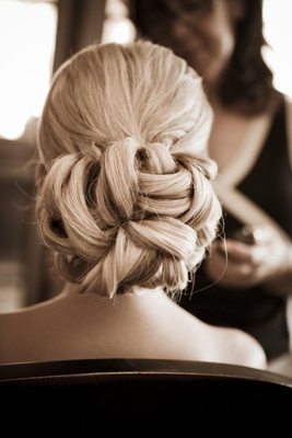 Basket weave updo for wedding day blonde hair