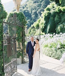 destination wedding lake como italy Villa del Balbianello entrance iron gates ivy on stone walls