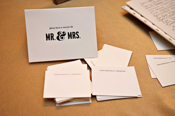 black and white guest notes for friends and family to fill out for the bride and groom