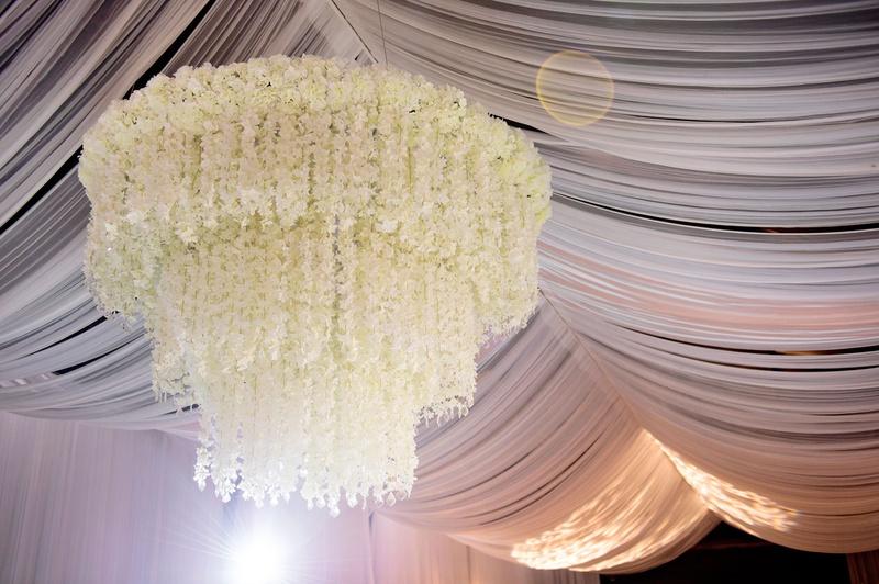 Dd Ceiling With White Flower Chandelier Three Layer Tier Tent Wedding Ideas