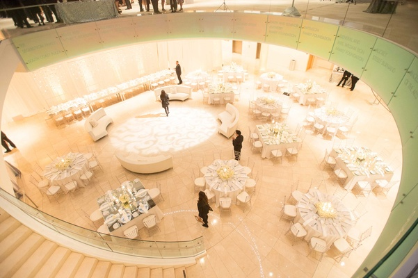 Bird's-eye view of art center dinner tables and dance floor
