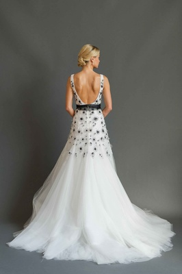 Sabrina Dahan 2016 back of black and white wedding dress with low back