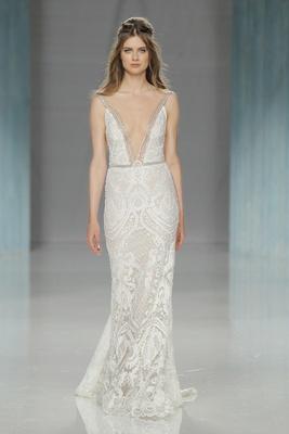 GALA Galia Lahav Spring 2018 form-fitting lace gown deep open V-neck metallic straps matching belt
