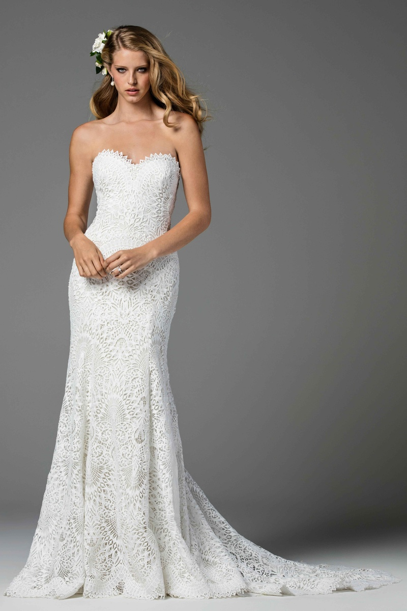 Watters 2017 Bridal Collection Taylor Strapless Wedding Dress Sweetheart Neckline Coquille Lace Shea