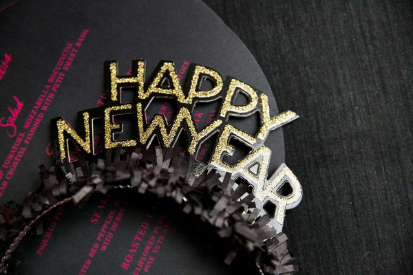 happy new year headband in gold and black with ruffles