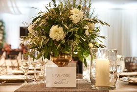 wedding reception table number named after cities and places where the couple likes to travel to