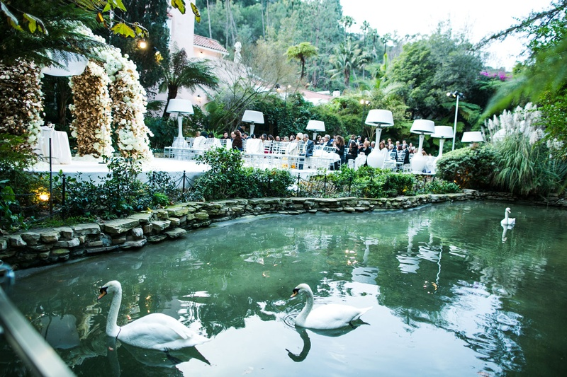 Hotel Bel-Air wedding ceremony location flower arch with pond nearby swans swan lake