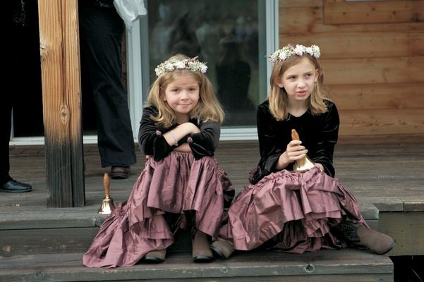 Flower girls in cowboy boots and flower crowns