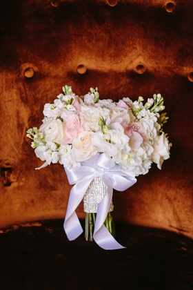 blush and white bouquet with white ribbon and rhinestone wrap