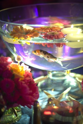 Spotted fish swimming in bowl of candles and flowers