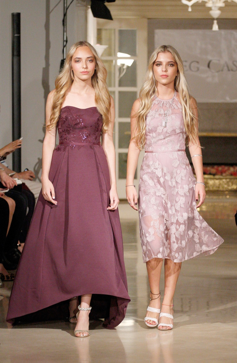 df5a5dbc96 Oleg Cassini spring summer 2018 bridesmaid dress strapless high low applique  gown and short flower
