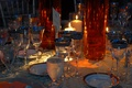 Wedding reception table with silver-rimmed stemware