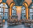 Henry Morrison Flagler Museum wedding reception, gold, burgundy, greenery, ivory color palette